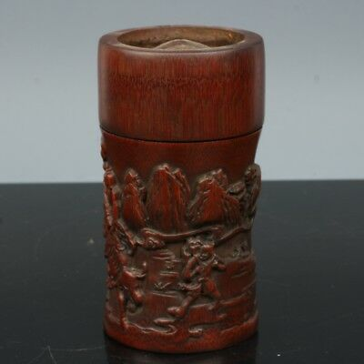 China Exquisite Hand-carved character landscape carving bamboo pot