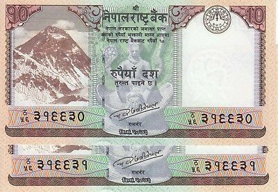 LATEST Issue of 10 Rs Mt EVEREST Banknote of Nepal, in Consecutive S/N, UNC 2pcs