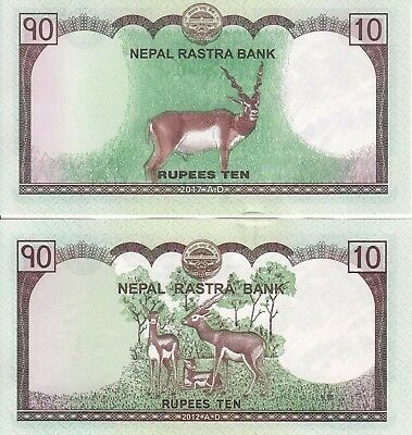 Latest and Previous Issue of 10 Rs Mt EVEREST Banknotes of Nepal, Pair of 2, UNC