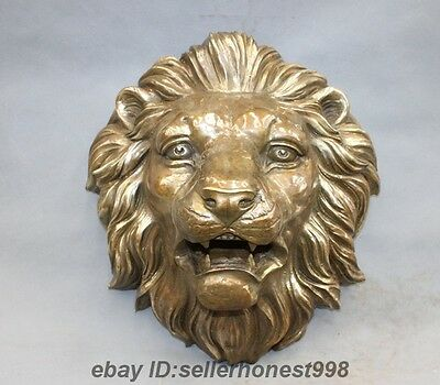 16 China Fengshui Copper Bronze Animal Lion king Head Wall hanging Mask Statue