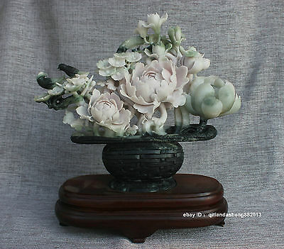 China 100 Dushan Green jade carved flower Potted plants with
