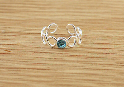 Turquoise CZ Beautiful Circle Design Sterling Silver Toe Ring Simple Light Blue