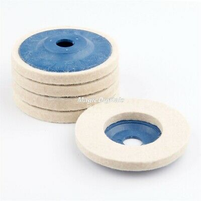 "4"" Round Wool Felt Polishing Wheel Pad Woodworking Grinder Buffing Grinding Disc"