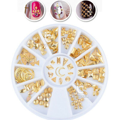 Half Round Pearl Beads 3D Nail Art Rhinestones Decoration Wheel Color Chameleon