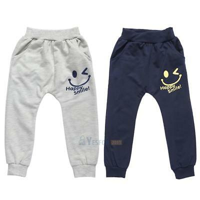 Kids Children Smiling Face Print Pants Boys Casual Trousers Bottoms #3YE
