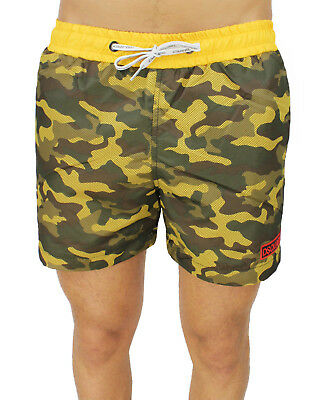 Men's Custome Dsquared2 Shorts Military Fluorescent Yellow Shorts Camouflage