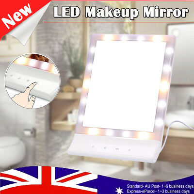 Rotation Beauty Makeup Cosmetic Mirror with LED Light Vanity Stand Bathroom AU