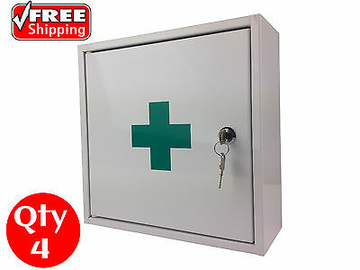 4 X First Aid Medical Medicine Cabinet Kit Box Steel Lock And Key Powder Coated