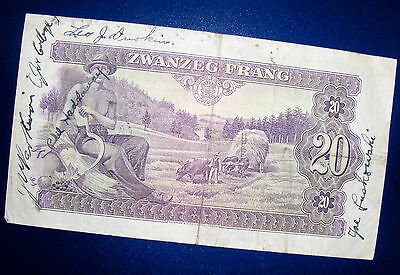 WW2 Short Snorter-1943 Luxembourg Note with Signatures, including POW