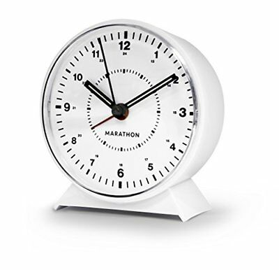 MARATHON CL034001WH Mechanical Wind-Up Alarm Clock (White) New