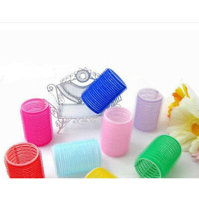 6Pcs Pro Salon Big Self Grip Rollers Nylon Cling DIY Hair Curlers Noted