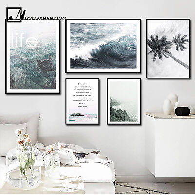 Sea Beach Nordic Style Motivational Life Quote Canvas Poster Home Decoration