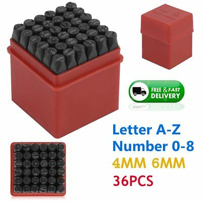 36PC Stamps Letters Alphabet Numbers Set Punch Steel Metal Die Tool Case Craft