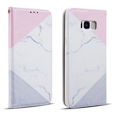 Marble Rock Pattern Leather Wallet Flip Case Cover For Samsung S8 S9 S7 J6 A8