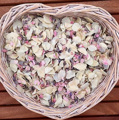 Biodegradable Wedding Confetti Natural Petal Pink Grey/ Silver Ivory 1 Litre