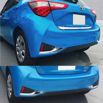 2pcs SUS304 Stainless Steel Rear Fog Lamp Trim For Toyota Yaris 5DR 2017 2018