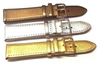 18mm 20mm GENUINE LEATHER SILVER GOLD or BRONZE COLOUR WATCH STRAP BAND and Pins