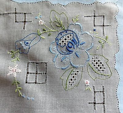 NEW Fine Hand Embroidered White Cotton Women's Handkerchief