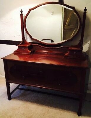Antique Vintage Large Mahogany Dressing Table with large Mirror