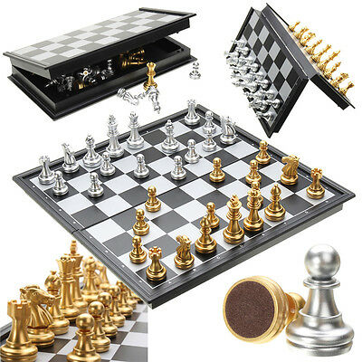 Chess Game Silver Gold Pieces Folding Magnetic Foldable Board Contemporary Set