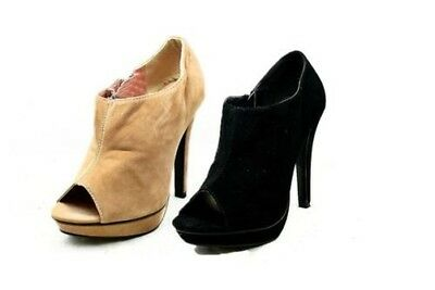 Ladies suedette peep toe high heel shoes / shoe boots