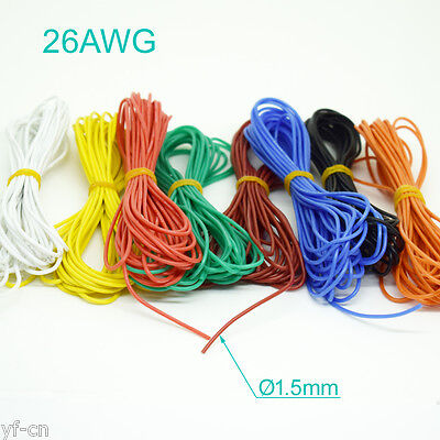 50m 26AWG Flexible Soft Silicone Wire Tin Copper RC Electronic Cable 8 colors UK