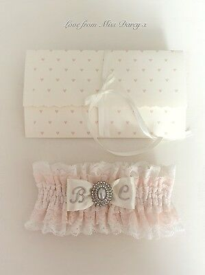 Bridal Garter Blush Ivory Lace Pearl Personalised Miss Darcy Wedding Brides Hen