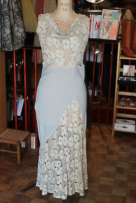 Original 1930s Crepe & Lace bias cut evening gown dress powder blue