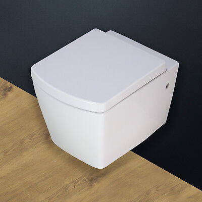 Toilet WC Bathroom Wall Hung Mounted Square Ceramic Soft Close Seat -W5N