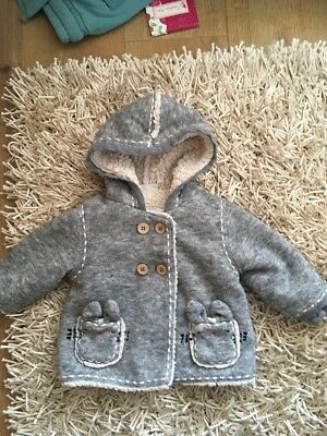 Girls Grey Fur Lined Next Coat Age 9-12m