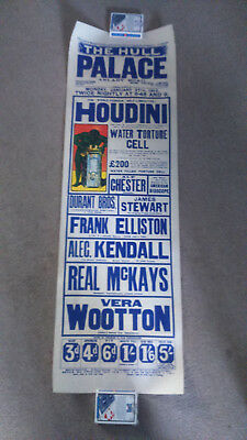 Houdini Playbill Showing The Water Torture Cell Palace Theatre Hull 27 Jan 1913.