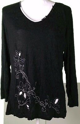 Kaktus Women Blouse Top 3/4 Sleeve Size XL Extra Large Floral Embroidery