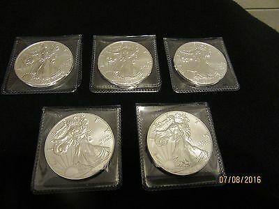 Lot of 5 - 2016 1 Troy Oz .999 Fine Silver American Eagle Coins BU
