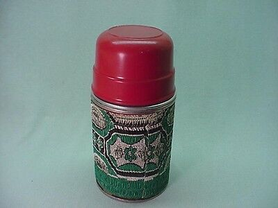 Vintage Rare 1950's metal thermos with vinyl wrap for draw string lunch box