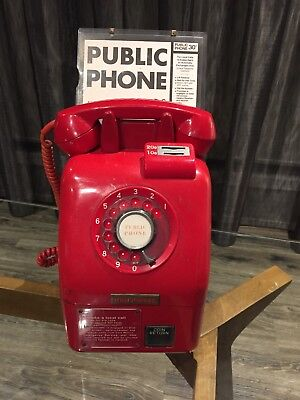 Vintage Retro RED ROTARY DIAL PUBLIC PAY PHONE  $0.30 CIRCA 1970's