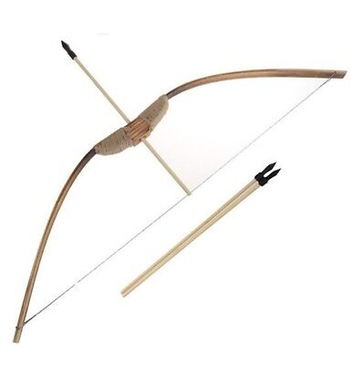 """28"""" Big WOODEN BOW AND ARROW w set 3 PACK ARROWS wood youth archery hunting toy"""