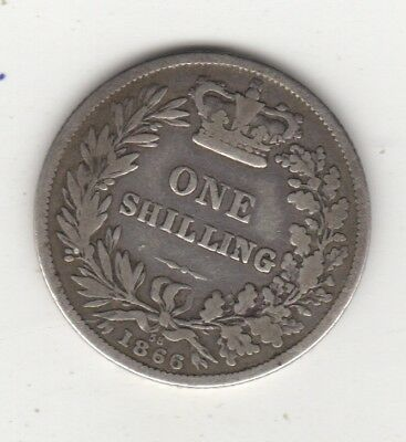 1866 Victoria Silver Shilling  GREAT BRITAIN Coin