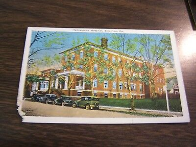 Antique Hahnemann Hospital -  Scranton  Pa  Post Card - Excellent