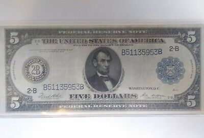 1914 Five Dollar Dollars Currency Blue Seal Federal Reserve Bill Large Note 5$