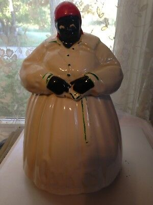 Vintage McCoy Ceramic Cookie Jar Black Mammy Repaired