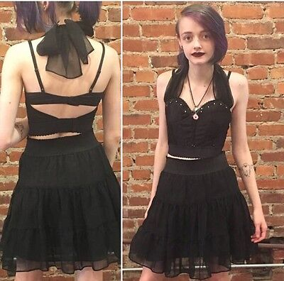 Vintage 1980s Black Madonna Style Matching Skirt and Bustier Goth