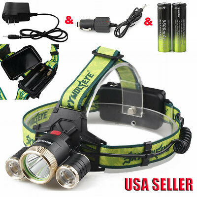 3x CREE Led T6 Headlamp 4-Modes 36000 Lumens Headlight+AC/Car Charger+18650BTY