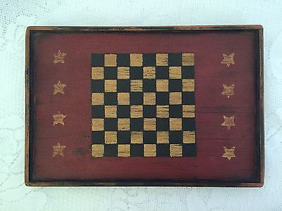 """Miniature Game Board Hand-Painted Checkerboard Primitive Paint 6x9"""""""
