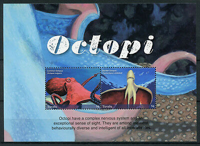Tuvalu 2017 MNH Octopi Common Blanket Octopus 2v S/S Marine Animals Stamps