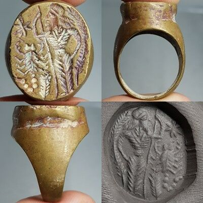 Medieval Old King & Scorpion Intaglio Bronze Lovely Ring #L