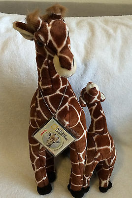 """Mother & Baby Giraffe 21"""" & 13"""" Plush Made by Applause & National Geographic NWT"""