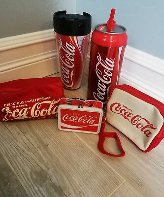 Coke CocaCola Bundle Collectors Lot coffee Mug Tumbler new Pop Water Bottle Bags
