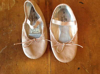 Girls PInk Leather Ballet Shoes Dance Slippers size 9