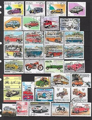63 Stamps featuring various road transport that are used, CTO or UMM (2 scans)