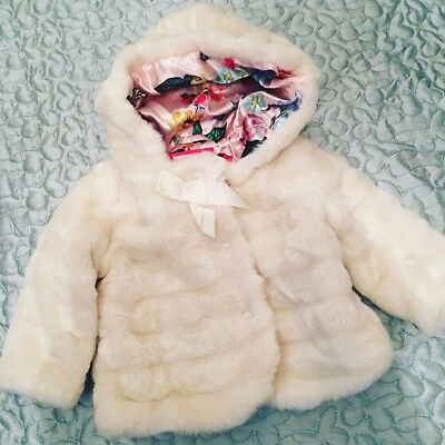 Ted baker Baby Girl Coat Fur 6-9 Vgc